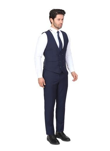 White Stone Yelekli Takım Elbise Slim Fit Açık Lacivert 6 Drop Lacivert